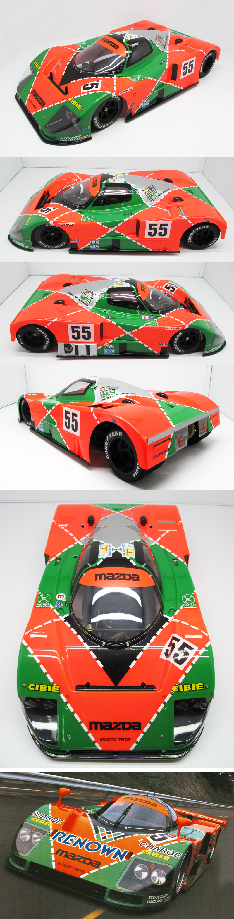 Race Car RENOWN 1:10 RC Clear Lexan Body Shell Mazda 787B Le mans with decals
