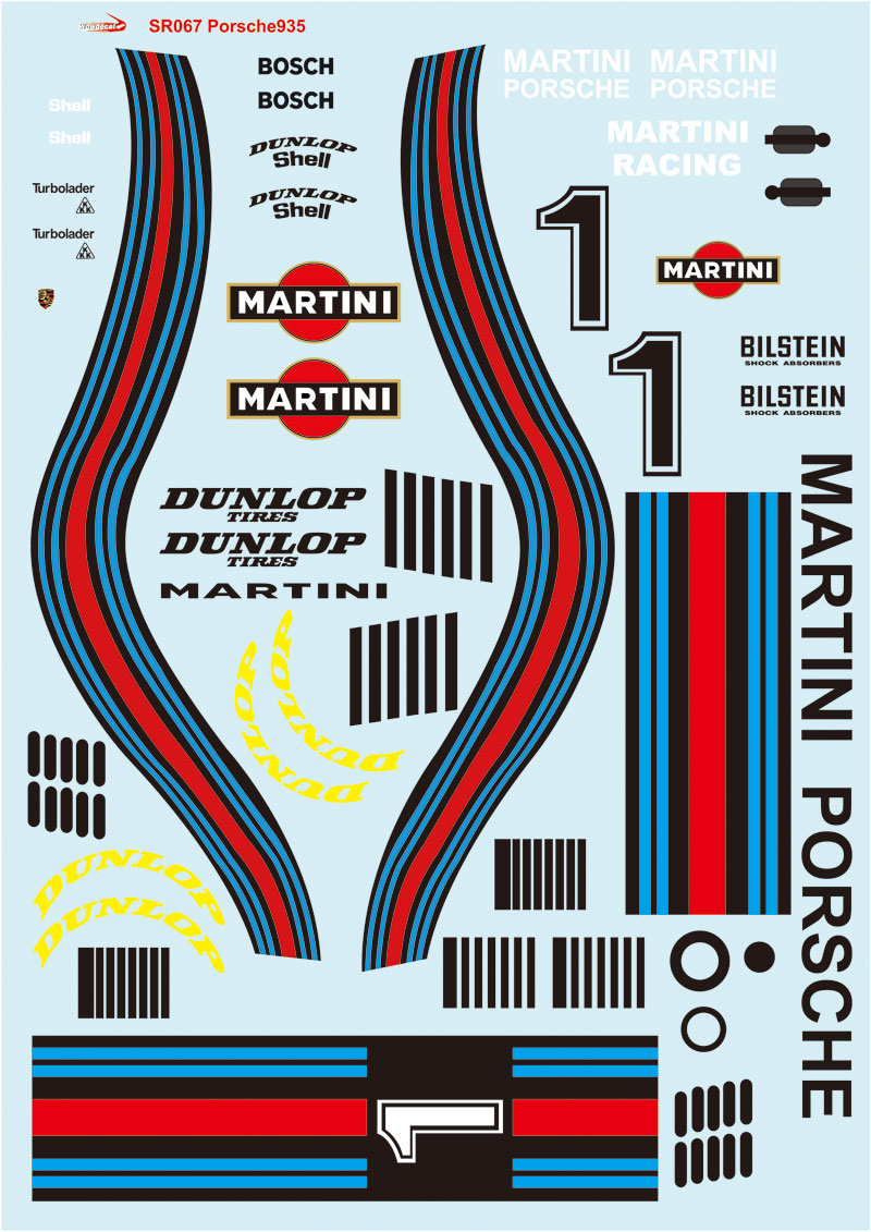 1/10 Martini decal sticker for Classic Porsche 935 Group 5 ...